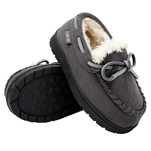 Toddler Kids Moccasin House Shoes Slippers with Memory Foam Slip On Sole Protection Slipper for Boys Girls Indoor Outdoor U7GSDWLFX-D-Gray-11