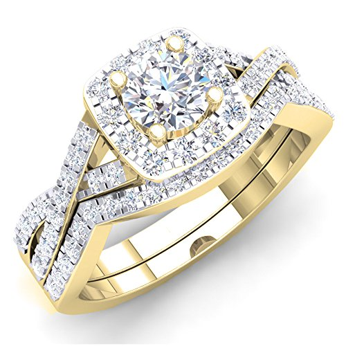 Dazzlingrock Collection 1.80 Carat (ctw) Round Cubic Zirconia CZ Bridal Halo Engagement Ring Set (Center Stone Size is 5mm), 10K Yellow Gold, Size 4