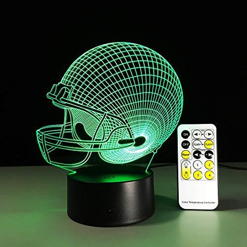 Colorido casco tridimensional control remoto LED noche panel acrílico 3D lámpara de mesa ilusión luna lámpara para niños   Lámpara de mesa pequeña 3D de regalo de luz visual