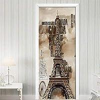 3Dドアステッカー現代アートドアデカール取り外し可能なビニールの皮とスティックドア壁画壁紙自己接着抽象レンガ壁 タワーパターン-95cmx215cm