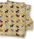 Christmas Westie Dogs in Santa Hats Gift Wrap - 2 Sheets of Wrapping Paper and Tags - Size 70x50cm - by Jonathan Glick Designs