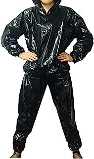 DawnBreak Sauna Sweat Suit for Women/Men with Hoode Zipper Weight Loss Fitness Exercise Gym Workout Suit Top Pants Black