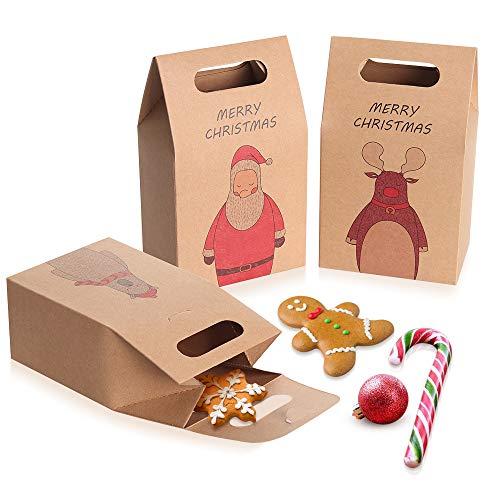 Coogam 1 docena de Bolsas de Regalo navideñas de Papel Kraft marrón - Caja de Galletas con Aperitivos - Bolsa...