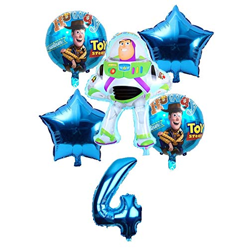 CHENZHAOL Niños Globo Toy Buzz Lightyear Globos 6 Unids / Set lámina de Dibujos Animados Helio Número de 32 Pulgadas Globos Azules Juguete Globos de Feliz cumpleaños ( Color : 4 )