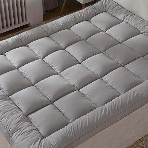 Upgraded! 3-Inch Extra Thick Mattress Topper with 100% Cotton Cover, Queen Size, New & Improved Down Alternative Bed Topper Pillowtop for Optimum Cushioning & Support, Breathable, Grey Color