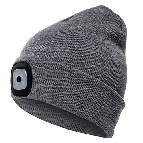 Unisex nuevo cálido USB recargable LED Beanie Cap al aire libre iluminado invierno sombrero de punto para hombres mujeres adultos manos libres LED Cap
