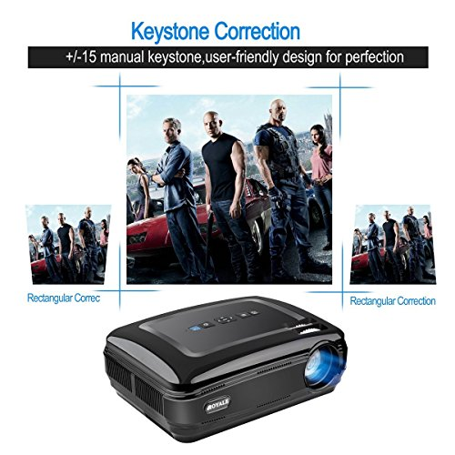 CROYALE PJ-58 Video Projector 1080P HD Home Theater Movie Projectors 3200 Luminous Efficiency Backyard Outdoor LCD Support Laptop Xbox VGA USB Speaker HDMI for iPad iPhone Smartphone TV Box Android