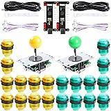 Hikig Kit de Bricolaje para Juegos de Arcade para 2 Jugadores, 2X Joystick + 2X USB Encoder + 20x LED Buttons para PC, PS3, Mame, Raspberry Pi, Color: Verde y Amarillo
