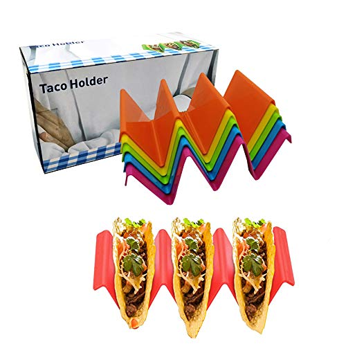 Colorful Taco Holder Stands Set of 6 Hold 2 or 3 Hard or Soft Shell Tacos