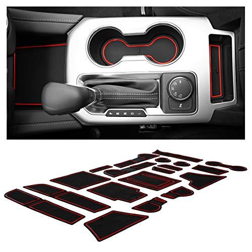 CupHolderHero for Chevy Blazer Accessories 2019-2021 Premium Custom Interior Non-Slip Anti Dust Cup Holder Inserts, Center Console Liner Mats, Door Pocket Liners 19-pc Set (Red Trim)