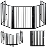 Deuba Reja de protección de Chimenea 310cm Largo rejilla protectora para animales 75,5 x 70 x 15cm con Puerta 5 elementos
