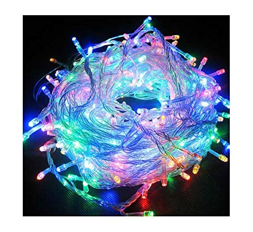 Best Artificial 400 Multi-Coloured LED Christmas Lights Multi function with UK Fitted Plug and Clear Cable. Suitable for Outdoor and Indoor Use. Mains Powered CE & RoHS Certified