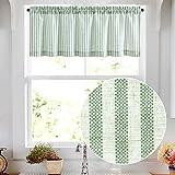 Valance Linen Textured Stripe Pattern Short Curtains for Kitchen Bathroom Rod Pocket Window Treatments 1 Panel 16' Sage