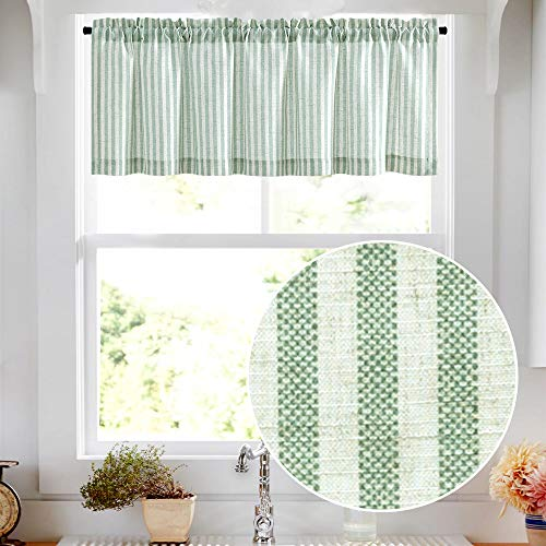 "Valance Linen Textured Stripe Pattern Short Curtains for Kitchen Bathroom Rod Pocket Window Treatments 1 Panel 16"" Sage"