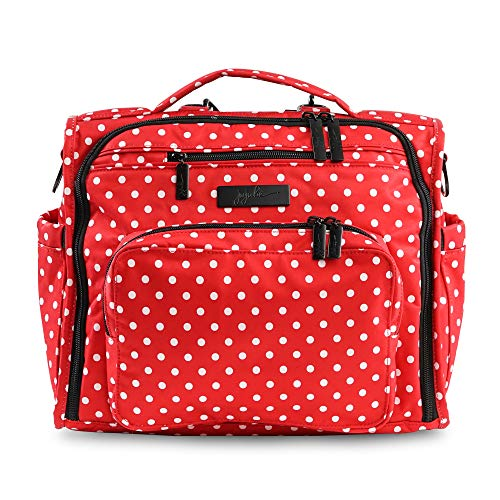 JuJuBe B.F.F Multi-Functional Convertible Diaper Backpack/Messenger Bag, Onyx Collection - Black Ruby - Red/White Polka Dots