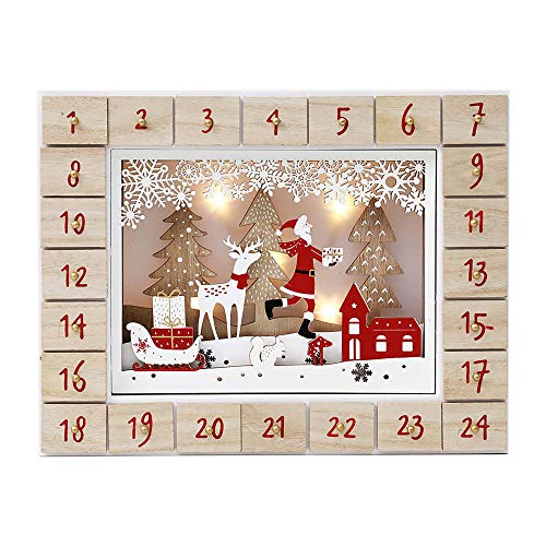 Christmas Wooden Advent Calendar with 24 Drawers to Fill Small Gifts with LED Lights Countdown to Christmas Decoration 13 Inch (Natural-Santa Clause with Reindeer)
