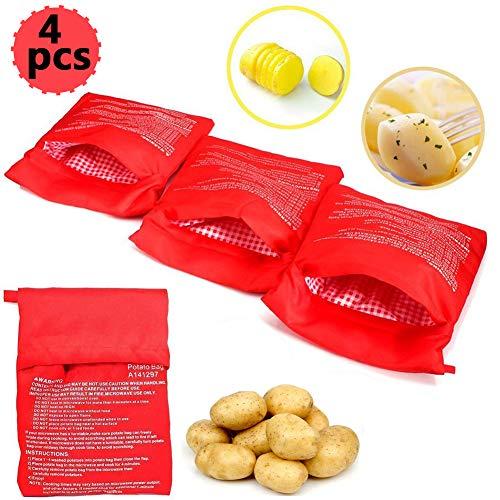 4 PCS Bolsa para Patatas en Microondas, Lavable Reutilizable Bolsa de Patata de Microondas Bolsa de Cocina Perfecto Patatas Sólo en 4 Minutos (Rojo, 24x 19 x 2 cm)