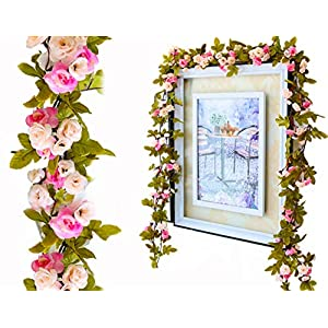 Lannu 2 Pack Artificial Rose Vine Flowers Fake Garland Ivy Flowers Silk Hanging Garland Plants for Home Wedding Party Decorations, (Pink &Champagne)