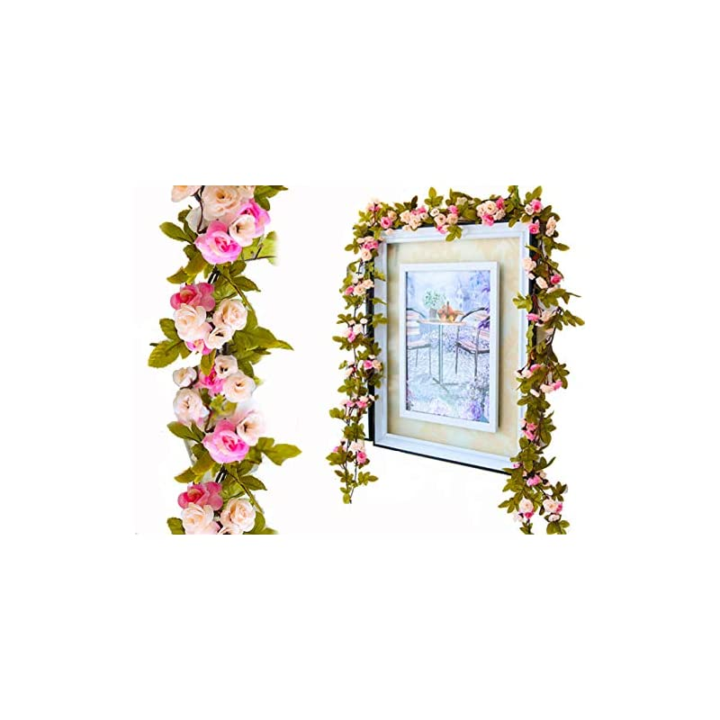 silk flower arrangements lannu 2 pack artificial rose vine flowers fake garland ivy flowers silk hanging garland plants for home wedding party decorations, (pink &champagne)