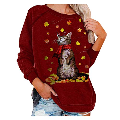 Calvinbi Damen Frohe Herbst/Winter Casual Weihnachten Cat Print Hoodie mit Rundem Hals und Langen Ärmeln Sweatshirt Top