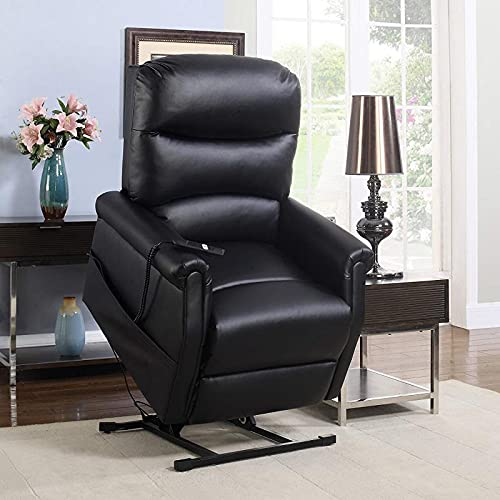 KosmoCare Electric Plush Micro Leather Power Lift Recliner Living Room Chair - Color Black