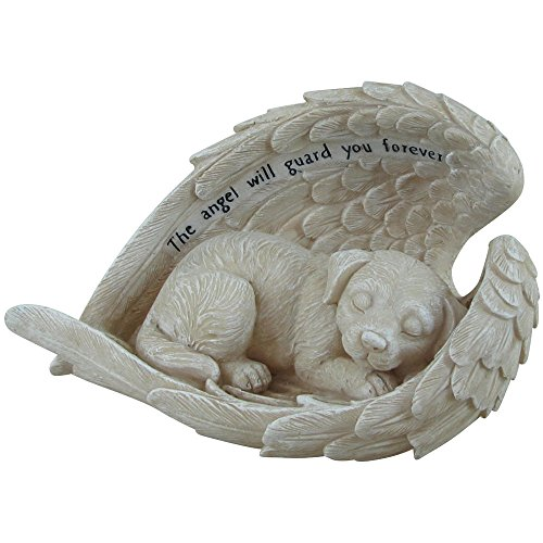 Comfy Hour 5 ' Dog in angel wing figurine - in memory of my best friend bereavement, Gray