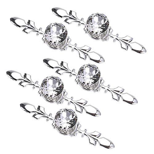 Naliovker 5 Pack Kristall Schubladen KnöPfe mit Silber Platte - Diamant Form Knopf Schublade Stoß Griff Schrank Kleider Schrank Schublade Stoß Griff MöBel KnöPfe mit Schrauben (170MM)