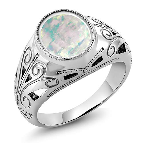 Gem Stone King 925 Sterling Silver Oval White Simulated Opal Men