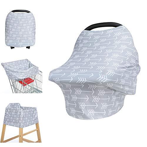Multiusos Manta de lactancia, Fansu Transpirable y Segura Cubierta para Asiento de Coche, Opaca Manta de Algodón, cubierta para trona, bufanda, cobertor para carriola (Flecha gris)