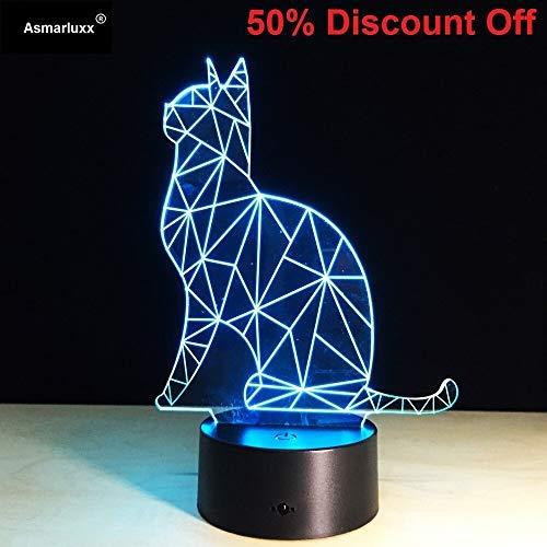 Katze Acryl Stereo Stereo Party Spielzeug Nachtlicht 3D LED Tischlampe Kinder Geburtstagsgeschenk Nachtzimmer Dekoration
