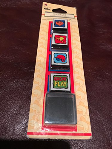 Plaid All Night Media Baseball Rubber Stamps & Inkpad