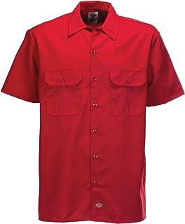 Dickies mens Short Sleeve Work Shirt,English Red Heather,L