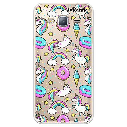 dakanna Funda para Samsung Galaxy J3 - J3 2016 | Unicornio Donut Helado y Arcoiris | Carcasa de Gel Silicona Flexible | Fondo Transparente