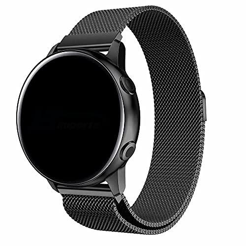 Pulseira 20mm Magnética Milanese compatível com Galaxy Watch Active 1 e 2 - Galaxy Watch 3 41mm - Galaxy Watch 42mm - Amazfit GTR 42mm - Amazfit GTS - Marca LTIMPORTS (Preto)