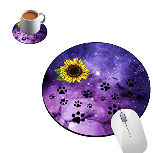 Round Mouse Pad and Coasters Set, Galaxy Sunflower Cute Dog Paw Print Mousepad, Non-Slip Rubber Round Gaming Mouse Pad, Customized Mouse Mat for Home Office Business Gaming