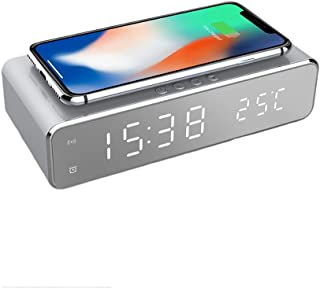 Mellion LEDスマート セイコークロック 目覚まし時計 温度計時計 タイム温度ディスプレイワイヤレス充電器充電パッドドック、Qi認定、iPhone 11、11 Pro Max、XR、Xs Max、XS、X、8、8 Plus、10W充電G...