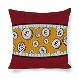 DKISEE Funda de almohada decorativa con monedas de dólar en la boca de algodón y lino, funda de cojín para el hogar, sofá, dormitorio, decoración de 45,7 x 45,7 cm