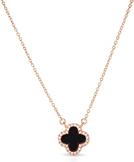 925 Solid Sterling Silver Black Onyx And Cubic Zirconia Small Four Leaf Clover Necklace With Adjustable Length.