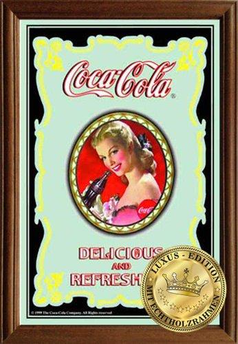 empireposter Coca Cola Klassik - Spiegel mit Echtholzrahmen - 22x32x1,2 cm