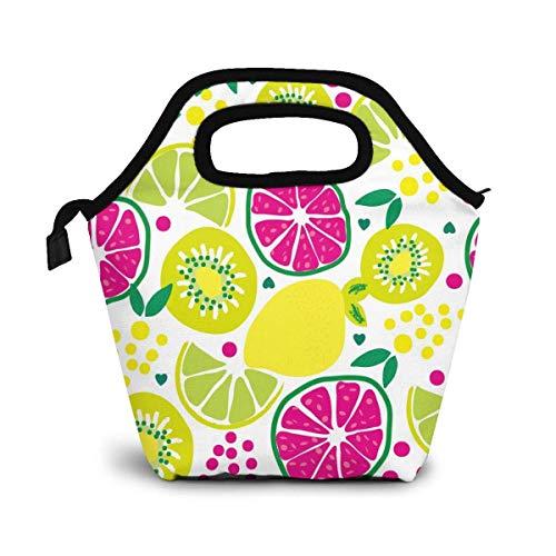 VimcustomPr Bolsa de almuerzo reutilizable, con estampado de frutas, bolsa de almuerzo para picnic, oficina, bolsa térmica de limón, pomelo y uvas