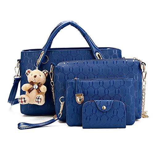 Pahajim Bolsos de Mensajero de las Mujeres de Moda Conjunto de Bolsos de Cuero de la PU cuero 4pcs Bolso de Hombro Bolso de Mano(Azul)