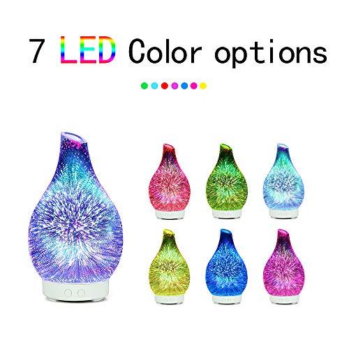 Lixada 100ml glas aromatherapie luchtbevochtiger aroma etherische olie diffuser ultrasone luchtbevochtiger met 7 kleuren LED-licht voor thuiskantoor
