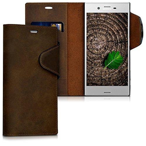 kalibri Hülle kompatibel mit Sony Xperia XZ/XZs - Leder Handyhülle - Handy Wallet Case Cover in Braun