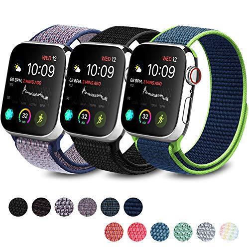 Meliya コンパチブル Apple Watch バンド ナイロンスポーツループ アップルウォッチ バンド 交換バンド 適応 iWatch Series 5 4 3 2 1 (42mm/44mm, ブラック+ミッドナイトブルー+紺青)