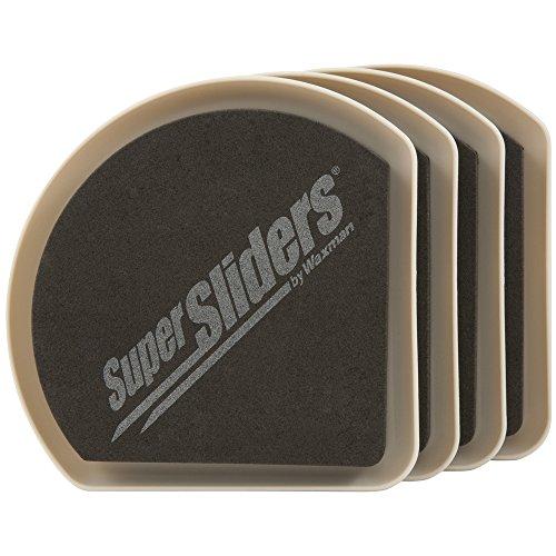 SuperSliders 4734195N Reusable Slide and Hide Furniture Movers for Carpet- Square Edge for Walls & Corners- Stays Hidden Under Furniture, 5' Linen (4 Pack)