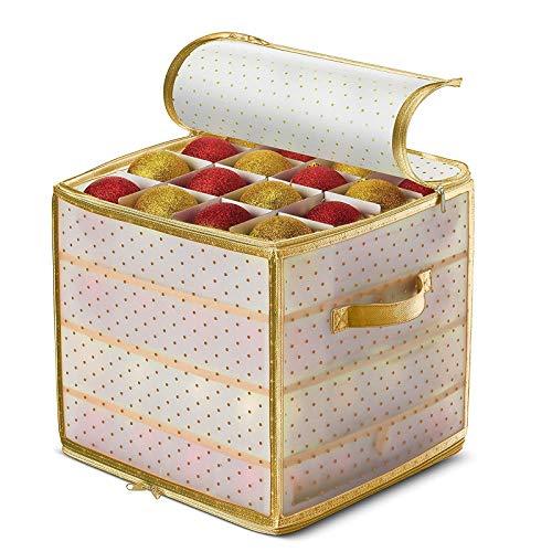 Weihnachtskugeln Aufbewahrung, Weihnachtskugeln Aufbewahrungsbox mit Deckel und Griffen, Bewahren Sie bis zu 64 Weihnachtskugeln Und Weihnachtsdekoration (Gold)