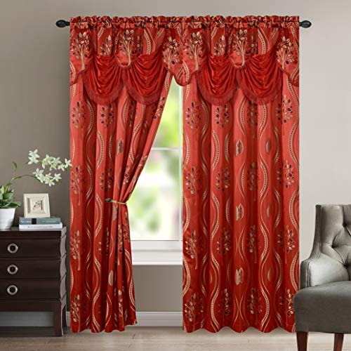 """Elegant Comfort Luxurious Beautiful Curtain Panel Set with Attached Valance and Backing 54"""" X 84 inch (Set of 2), Red"""