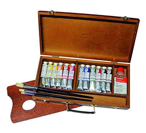 LUKAS STUDIO OIL, Ölfarbe in Premium-Qualität, Set im Holzkasten mit 12 x 20 ml Farbtuben, Pinselreiniger, Palette und Pinsel