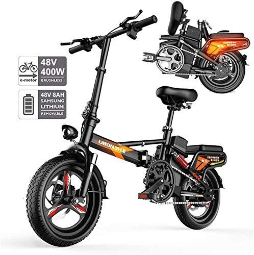 Bicicleta eléctrica de nieve, Bicicleta eléctrica plegable para adultos, 400W WATT MOTOR CONFORT BICICLETAS HYBRID HYBRID RECNDENT / BIKES LLANTAS DE 14 PULGADAS, Aleación de aluminio, Freno de disco,