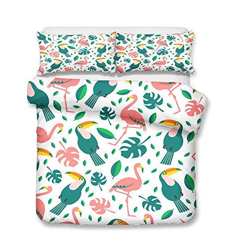 Sticker superb Tropical Feuille Animal Floral Flamant Parures de Lit avec Taie d'oreiller, 1/2 Personnes Toucan Fleur Housse de Couette avec Fermeture éclair (Toucan & Flamant, 200x200cm)